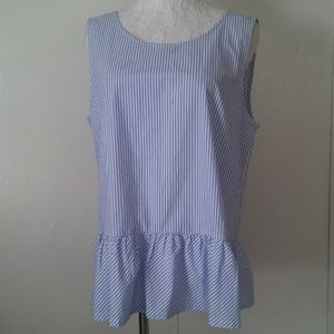 J Crew striped blue sleeveless blouse size M top
